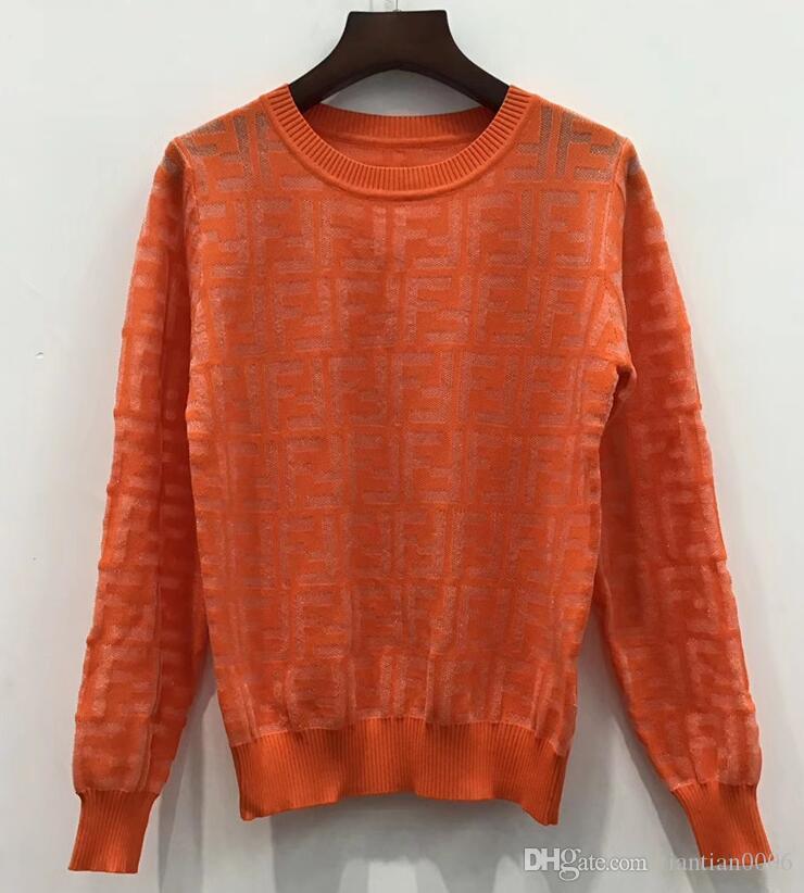 001227 2019 otoño Marca mismo estilo del suéter de la moda de baile camisa de punto suéter ropa de las mujeres de manga larga blusa de punto