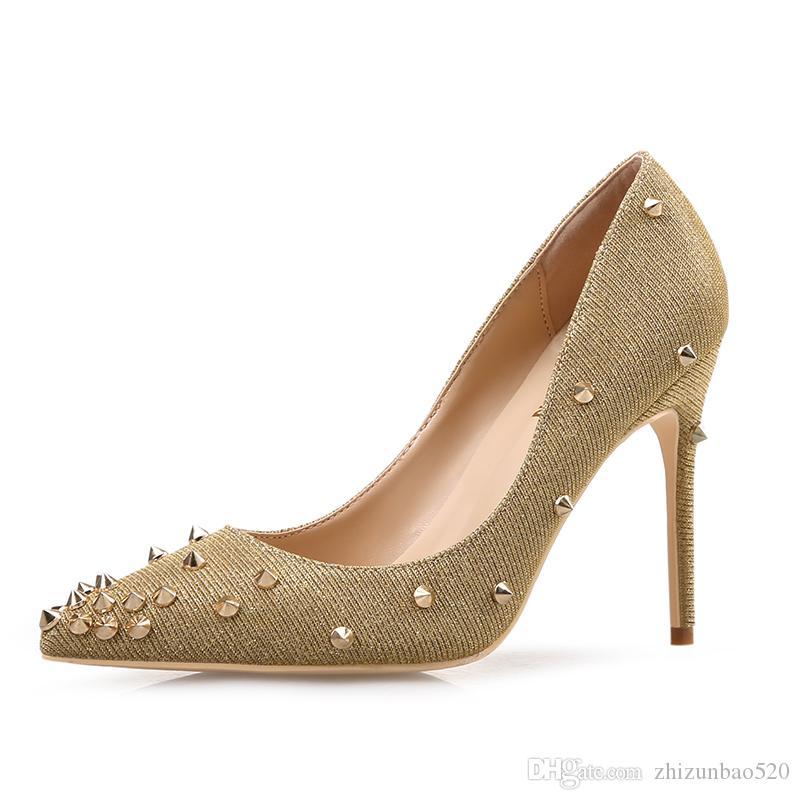 Повседневный дизайнер Sexy Lady мода Золото серебро Блеск шипы острым носом туфли на каблуках тонкие каблуки Свадебные туфли невесты шпильках совершенно новый