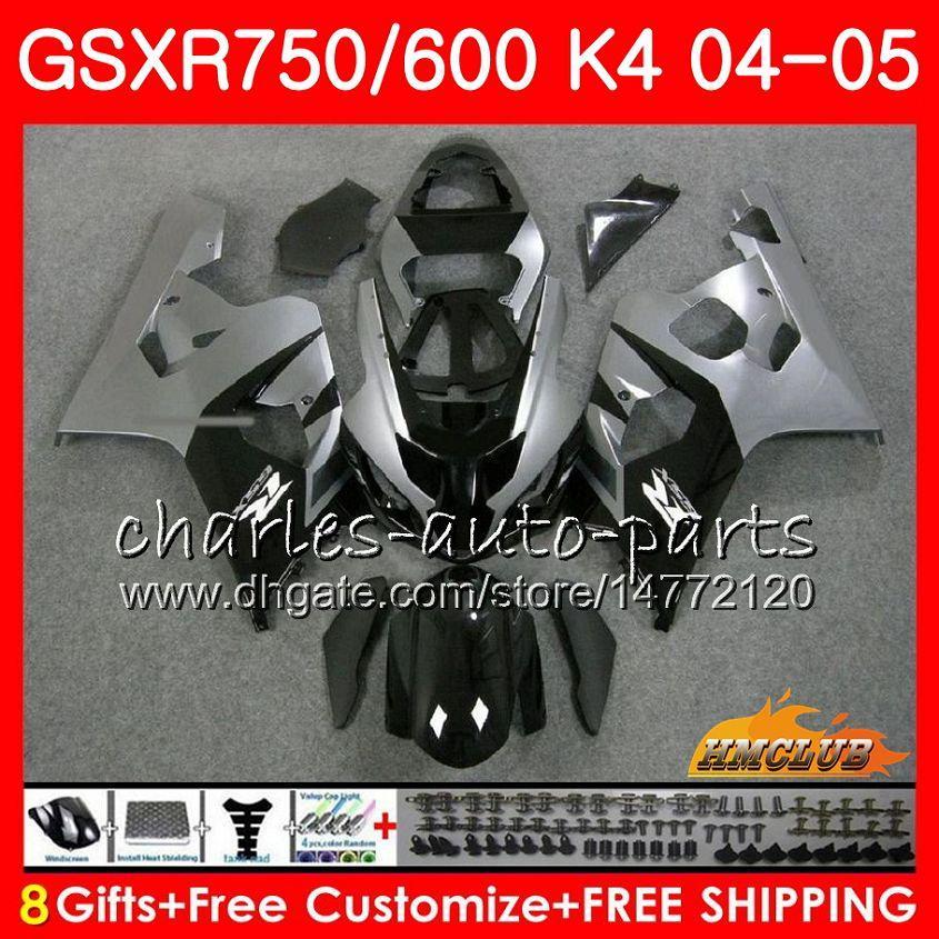 Kit pour SUZUKI GSX R600 R750 GSXR600 GSXR750 gris noir chaud GSXR 600 750 04 05 7HC.23 GSXR750 GSXR750 K4 GSXR600 04 05 2004 2005 Carénage