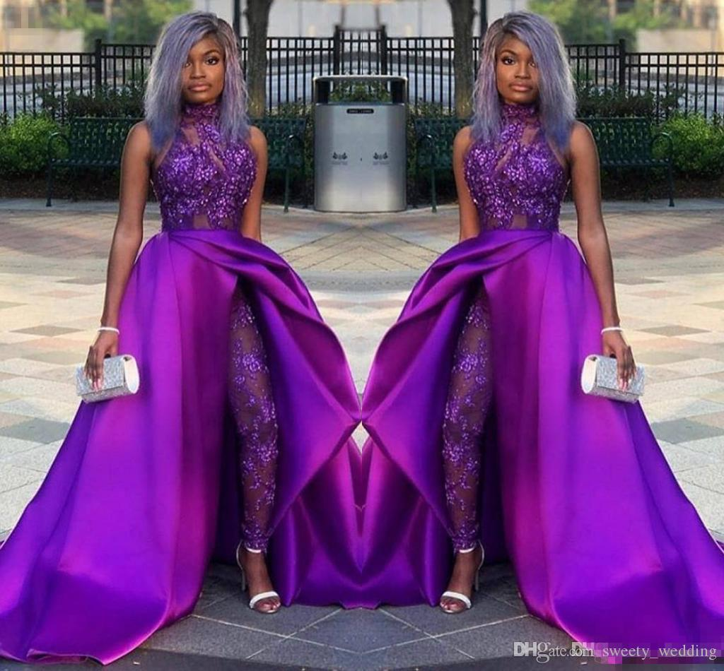 2019 Classic Jumpsuits Prom Dresses With Detachable Train High Neck Lace Appliqued Bead Evening Gowns Luxury African Party Women Pant Suits