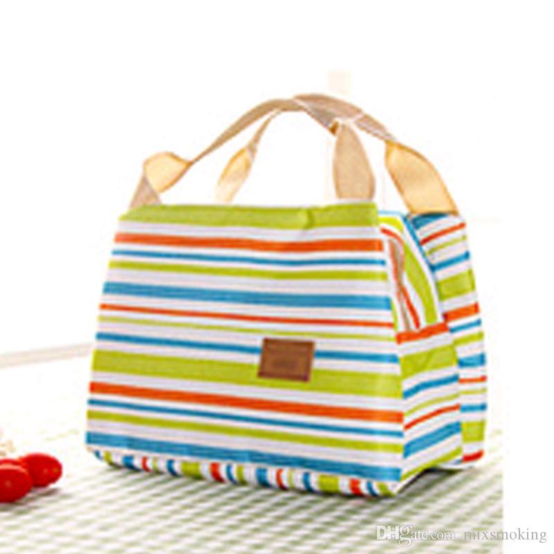 قماش الشريط نزهة الغداء شرب حراري معزول برودة حقيبة 450ML المحمولة حقيبة وصندوق الغداء 6 ألوان 30PCS