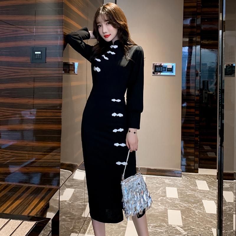 2019 الصينية ثوب انقسام الجانب الأنيق تشيباو اللباس طويلة الأكمام حزب رداء المرأة شيونغسام خمر مساء مثير