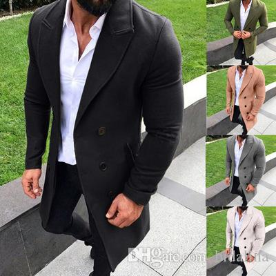 2019 New Moda Masculina Inverno Quente revestimento Blends Casaco masculino Casual Jacket lapela Outwear Overcoat Longo Peacoat longa dos homens Blends Coats