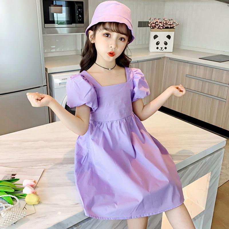 Девочки-подростки Летнее платье Puff рукавом платье принцессы площади Воротник Детские платья для девочек Одежда для детей Костюм 10 12 13 лет