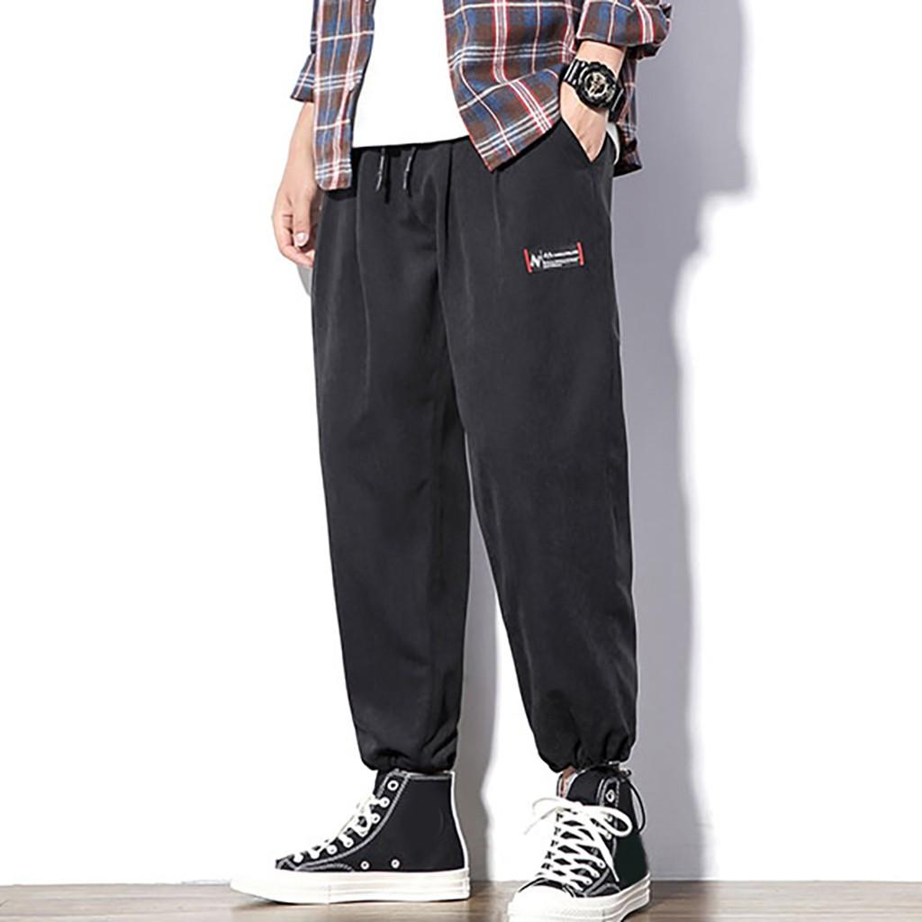 Летняя мода бегунов брюки мужчины сплошной цвет повседневная Harajuku брюки фитнес брюки длинные тренировочные брюки мужской pantalon homme