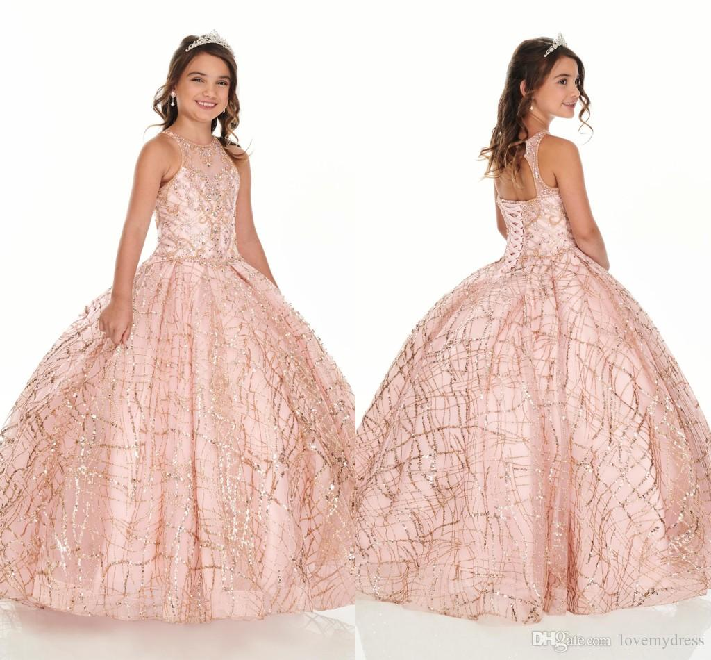 2020 Bling Rose Gold Mini Quinceanera Pageant Dresses For Little Girls Glitter Tulle Jewel Rhinestones Beaded Party Dress Toddler Flowers
