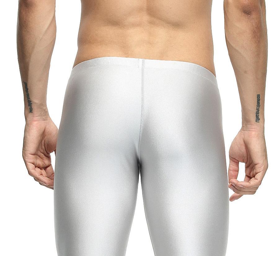 Sexy ocasional estiramento Compress Academia Long Johns Shapewear de Homens de treino de nylon sólida prata calças justas Salão Pants Home and Out Door