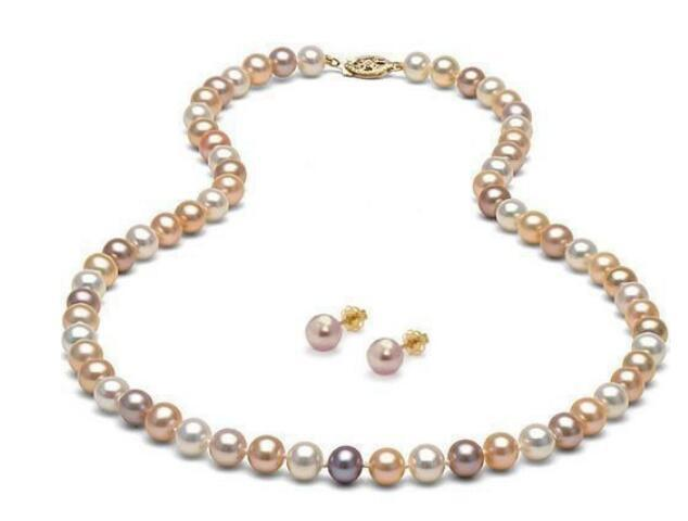 Jewelryr Pearl Set new hot 8mm Genuine Natural Multicolor Sea Shell Pearl Necklace Earring Set 18inch Free Shipping