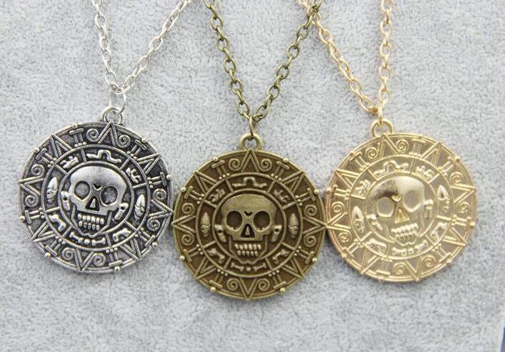 Joyería de bronce de oro de la vendimia de la moneda azteca colgante collar Auniquestyle pirata del Caribe Jack Sparrow medallón collar de plata de la manera del regalo