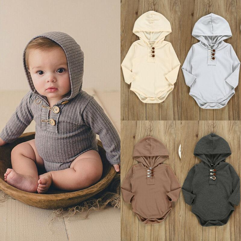 Baby Boy Girl Long Sleeve Cotton Hooded Romper Newborn Infant Button Up Jumpsuit Clothes Outfit