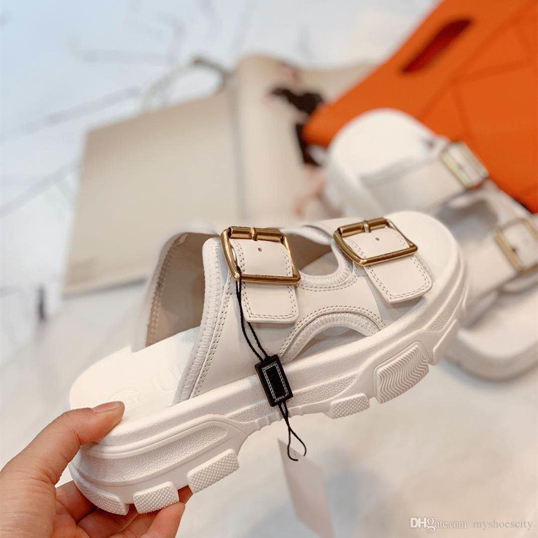 El grado superior de cuero zapatos de diseño diapositivas mujeres de la moda de lujo de plata del metal del oro blanco cowskin de cuero reales de las sandalias de la plataforma de diseño