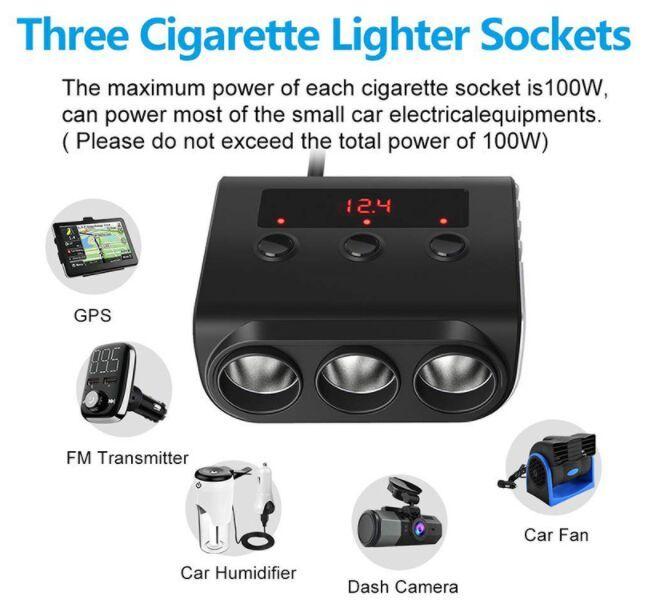 100W Tre accendisigari zoccoli caricabatteria da auto con interruttore on / off e Led visualizzazione tensione TR12