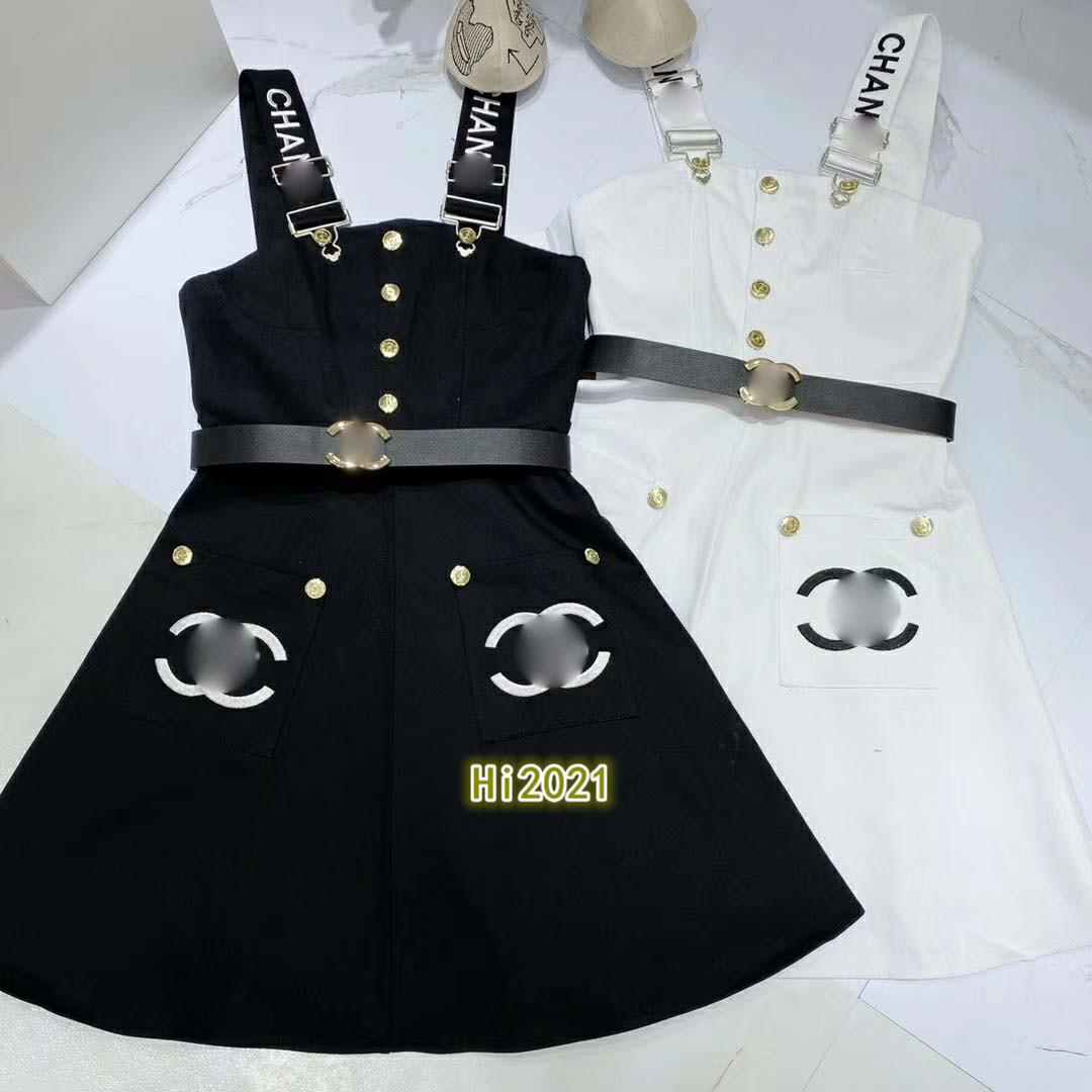 high end women girl casual denim strap dress embroidery letter single breasted pocket skirt with belt 2020 fashion luxury design loose dress