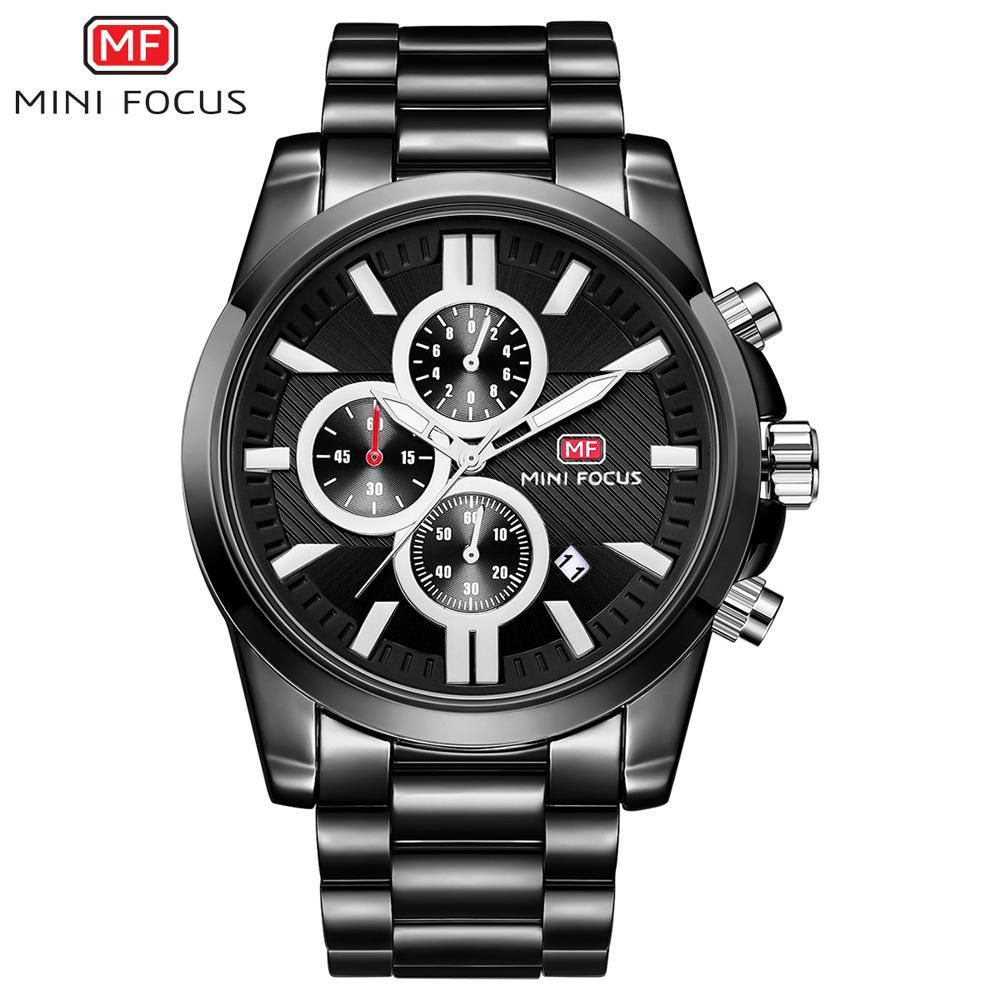 MINIFOCUS Sport Steel Band Reloj de pulsera de cuarzo Hombres Business Relogio Masculino Lujo Famoso reloj de pulsera de movimiento de cuarzo analógico masculino MF0134G