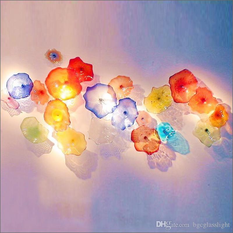 Venta caliente soplado hecho a mano placas de vidrio de flores Art Hotel Gallery del arte en la flor de las luces para el Salón Comedor Escalera