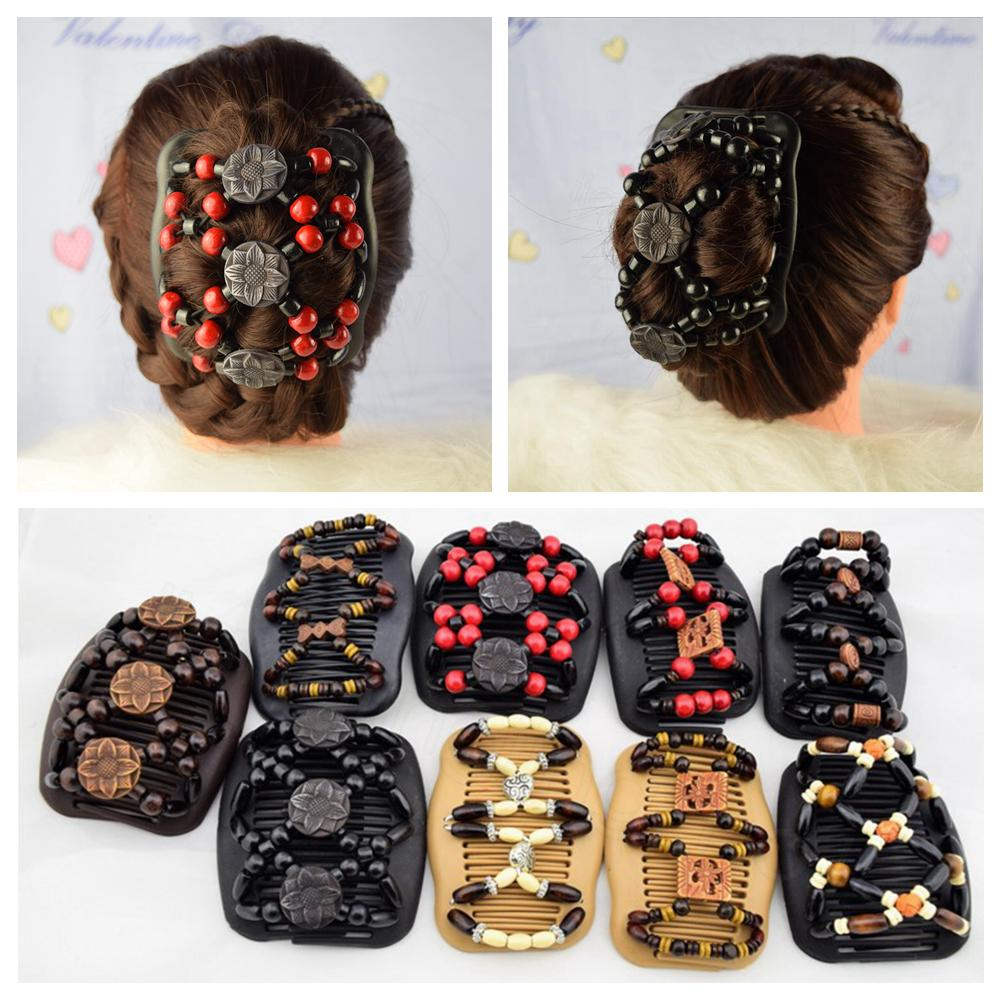 Magic Beads Elasticity Double Hair Comb Clip Stretchy Fashion Women Accessories