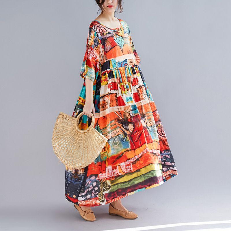 Plus Size Women Print Dress Summer Cotton and Linen Female Elegant Vestidos Loose Dress Sundresses Long Flowered Holiday Dresses