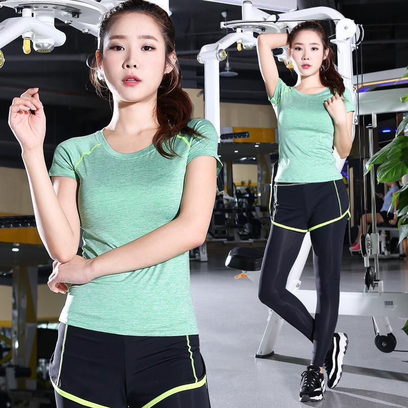 Vêtements de Yoga à deux pièces Set Femme d'été extensible Slim Fit manches courtes Courir Sports de plein air Fitness Vêtements Femme