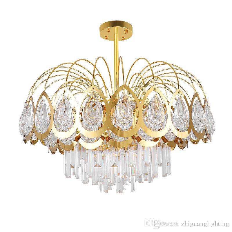 Postmodern peacock screen crystal chandelier highend atmosphere living room dining room lamp hotel bar decoration lamps