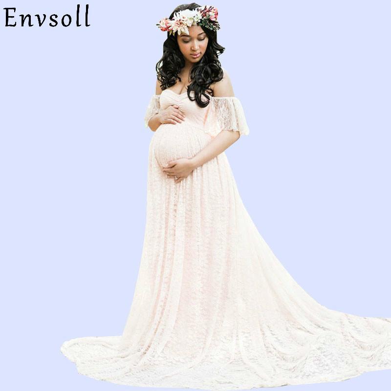 Envsoll Dantel Maxi Elbise Annelik Fotoğrafçılık Sahne Gebelik Elbise Annelik Elbise Fotoğraf Çekimi Hamile Kadınlar Için Elbise Y19051804