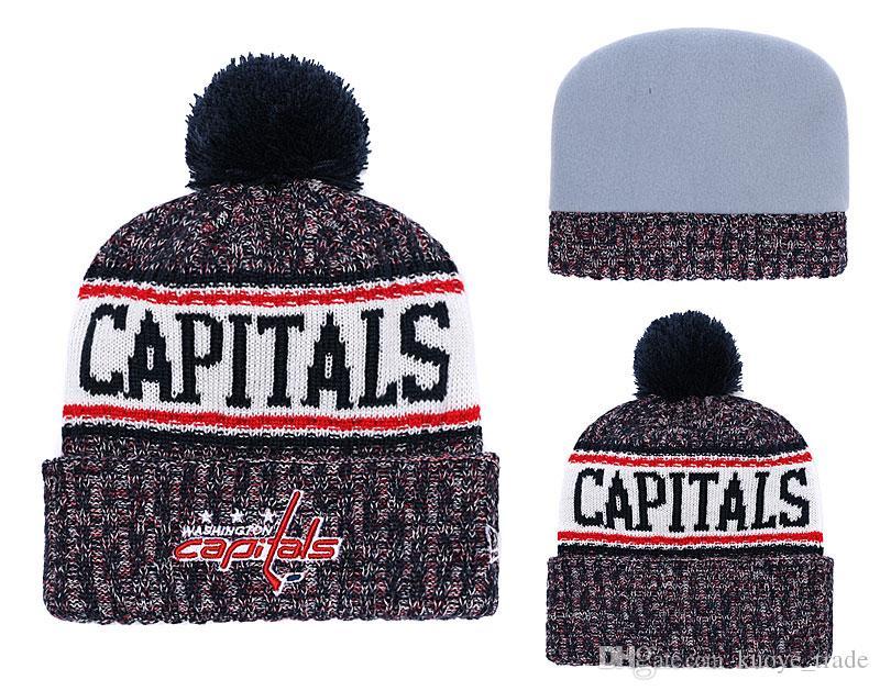 Heißer Verkauf Hockey CAPITALS Winter Mützen Gestrickte graue Hüte Basketball Baseball Fußball Winter Mützen Hüte Hysteresenhüte 1000+
