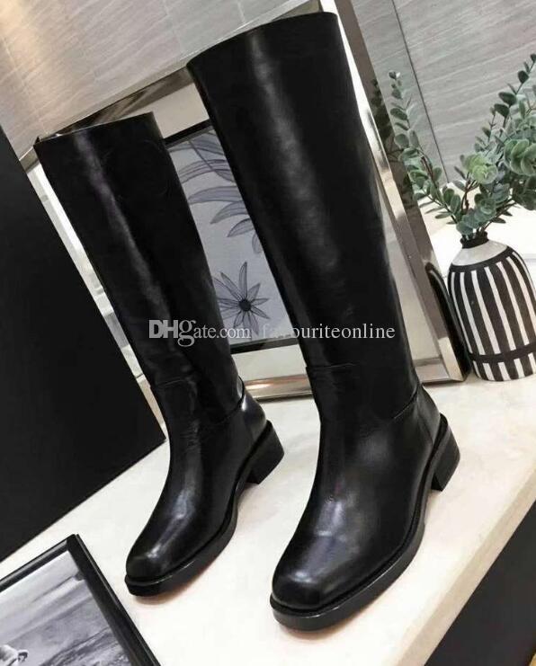 Lujo clásico para mujer larga nieve Martin exterior rodilla motocicleta invierno caballero botas de cuero de vaca tamaño 35-40