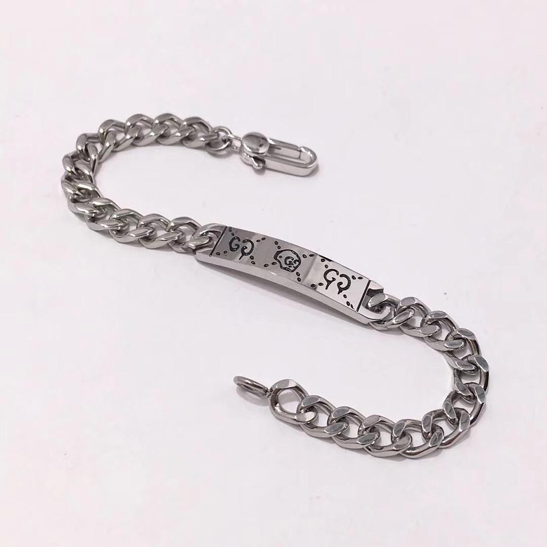 Top qualidade de aço inoxidável 316L pulseira do punk com projeto fantasma para as mulheres pulseira em 18,5 centímetros de casamento PS5310 presente da jóia