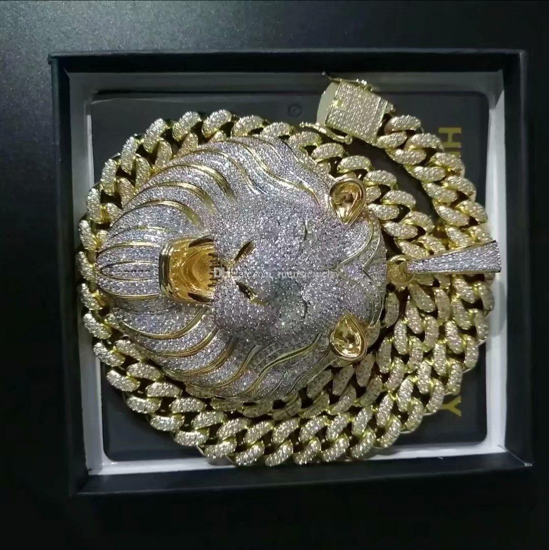 Hommes Bijoux Hip Hop Glacé Pendentif de luxe de collier de diamant de Bling cubain lien chaîne Big Lion Pendentifs animaux Rapper Accessories34
