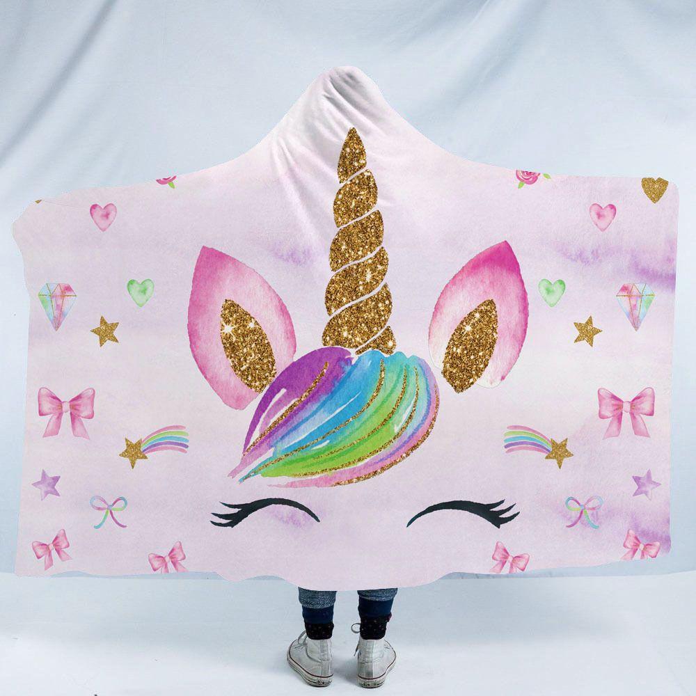 Sherpa Unicorn moletom com capuz cobertor casaco unicórnio floral sherpa cobertor de lã capa adulto impresso floral com capuz sherpa poncho crianças tamanho fedex navio