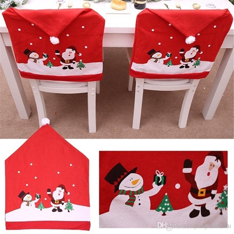 Neue ankunft kawaii 1 stück Weihnachten Stühle Abdeckung Weihnachtsmann Mütze Vlies Abendessen Tisch Red Hat Stuhl Zurück Utility haushalte