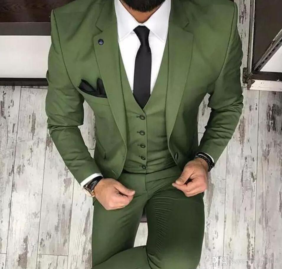 Olive Green Mens Suits For Groom Tuxedos 2019 Notched Lapel Slim Fit Blazer Three Piece Jacket Pants Vest Man Tailor Made Blazer Coat