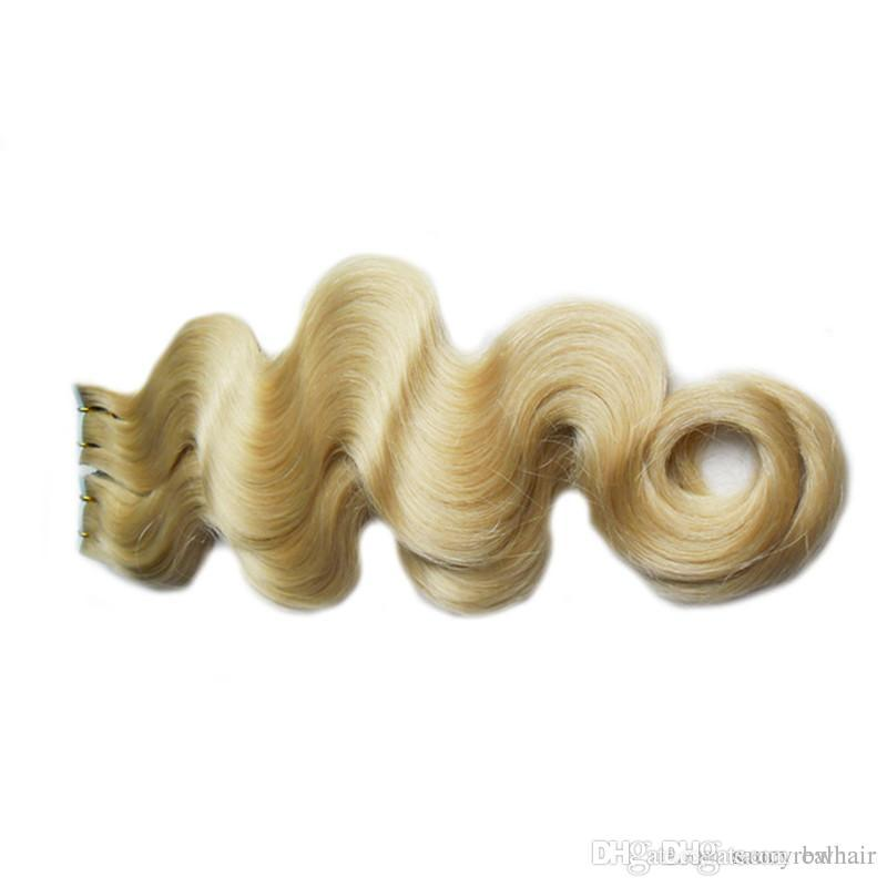 Trama di pelle remy capelli nastro di trama in pu estensioni dei capelli umani # 613 Bleach Bionda Brasiliana Body Wave Capelli 14-26 pollici, DHL gratuita