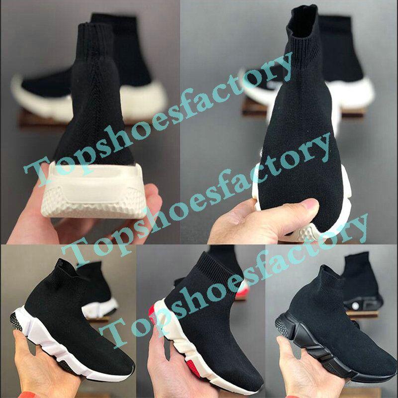 Balenciaga Kid Sock shoes Luxury Brand Çocuk Moda Bilek Boots Hız Stretch Mesh Yüksek Top Trainer Koşu Ayakkabı Hız Örme Çorap Orta Üst Trainer Sneakers 24-35