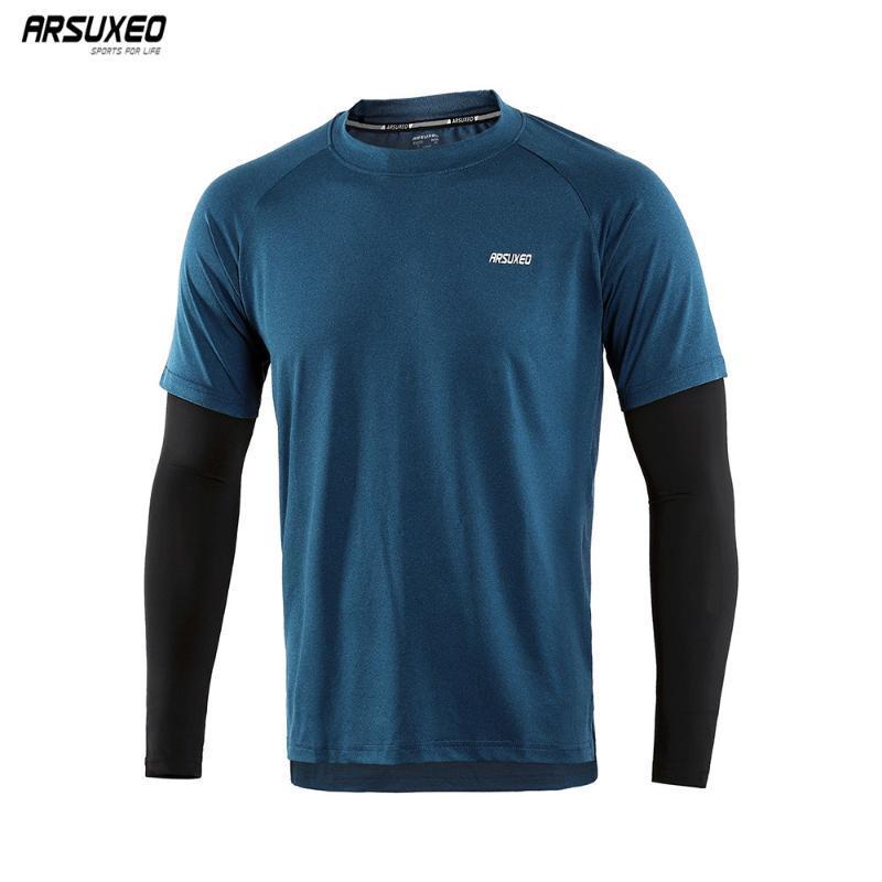 Outono de Homens ARSUXEO funcionamento camiseta Quick Dry Fit compressão Esporte shirt de manga comprida Workout Training Elastic aptidão Gym18T8