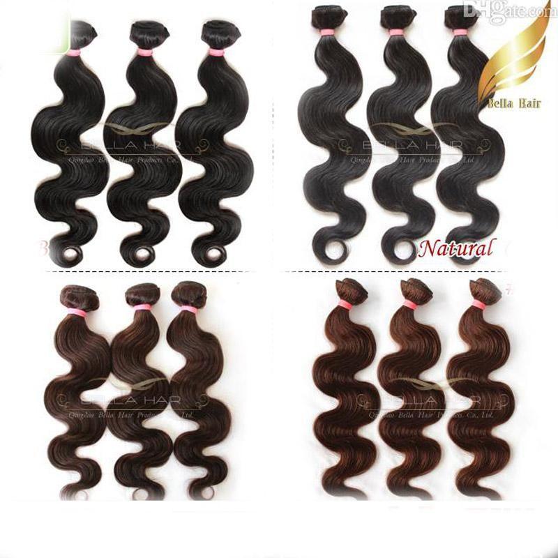 % 100 Brezilyalı İnsan saçı 3pcs / lot saç örgüleri Vücut Dalga Saç Ürünleri Doğal Renk # 1b, # 2, # 4 Bellahair 8A DHL