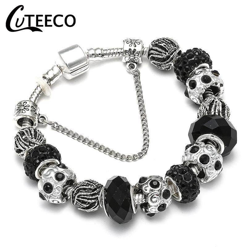 CUTEECO Charm Bracelet Silver Plated Hollow Murano Beads Fit 2018 venta caliente Original Pandora pulseras para joyería de las mujeres