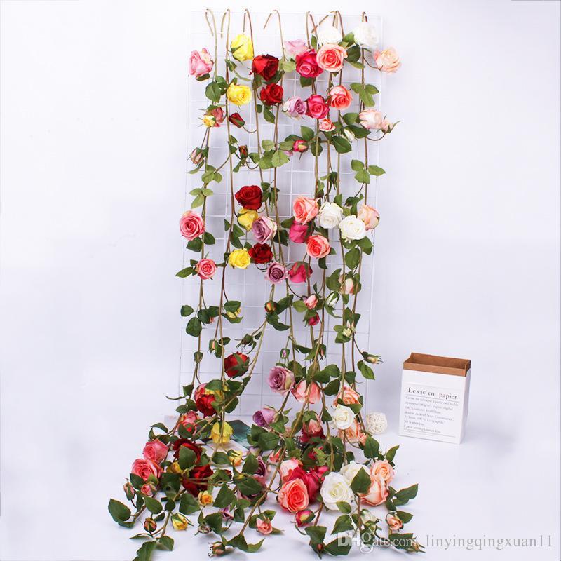 153cm Rose Decorazioni di nozze Ivy Vine fiori artificiali Decor con foglie verdi Hanging Wall Garland Wall hanging flower vine