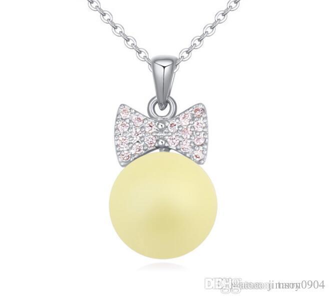 new fashion Woman Ornaments SWAROVSKI element Pearl Necklace Love fairy Simple jewelry Micro insert zircon Pendant