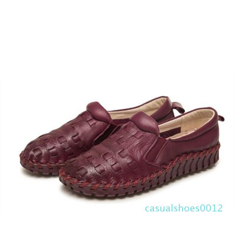 Primavera estate 2019 nuovo stile fatto a mano delle donne di conforto scarpe in pelle di moda selvaggia antiscivolo superficiale pieni piatti appartamenti pattini inferiori c12