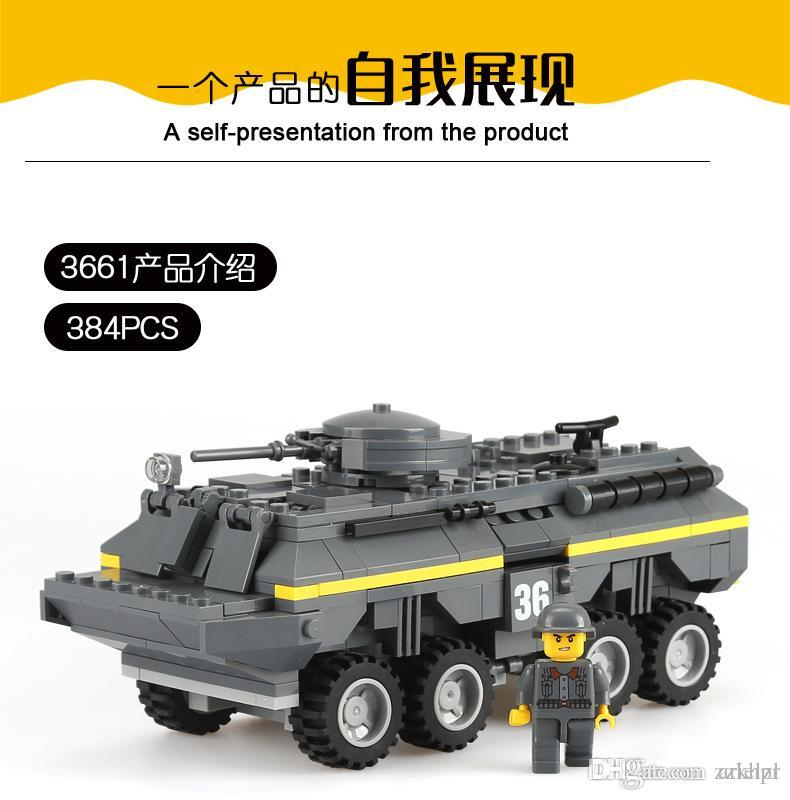 Building blocks toys plastic / plastic reloading tank small particles puzzle assembling spell insert assembly toy