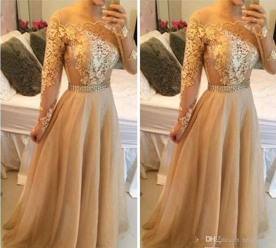 Modest Long Sleeves Arabic Formal Evening Dresses With Gold Lace Chiffon Plus Size Vestidos De Novia Prom Special Occasion Gowns Cheap 2019
