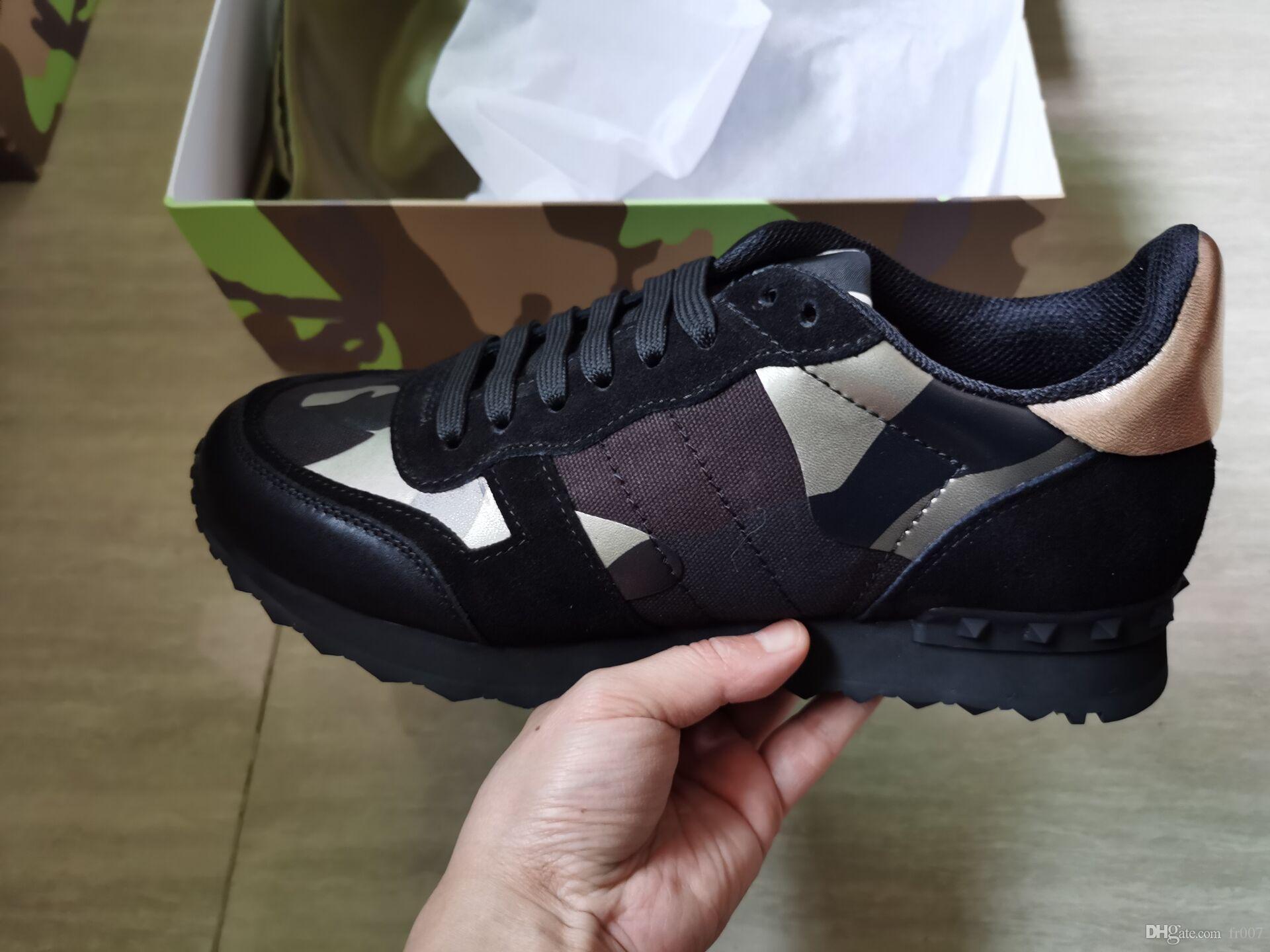 Cuoio Genuino Fashion Lover designer Rock Stud Sneaker Scarpe Donna Uomo Marca Scarpe Casual Rock Flats Star Scarpe