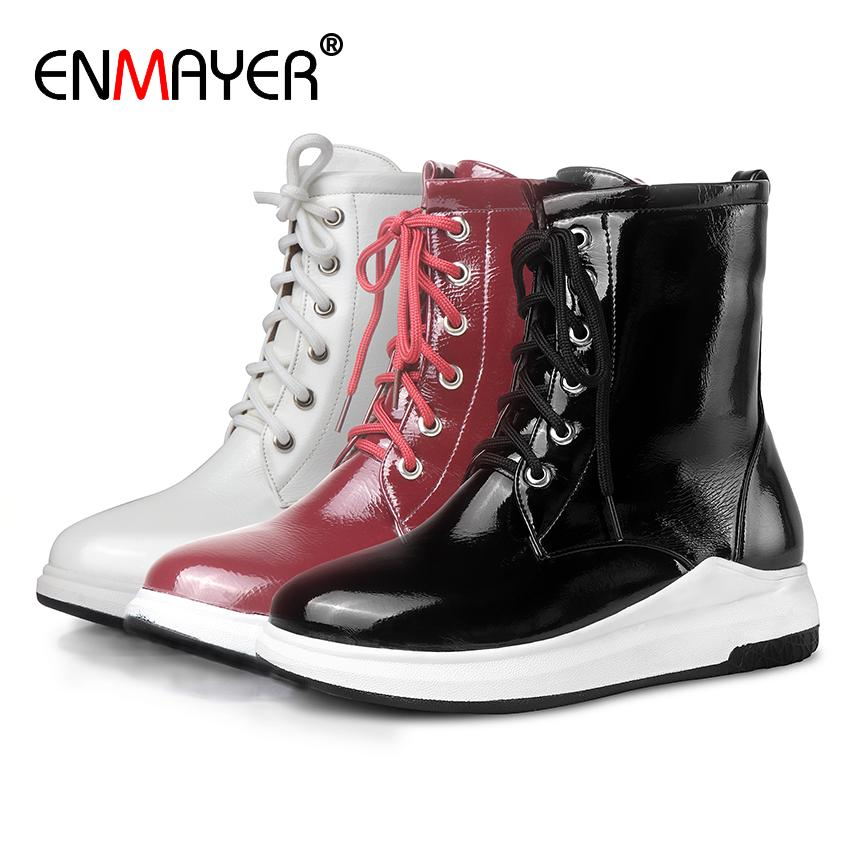 ENMAYER Microfiber Round Toe Height Increasing Cross-tied Ankle Boots Zip Solid Short Plush Black Boots Winter Shoes Women Flat