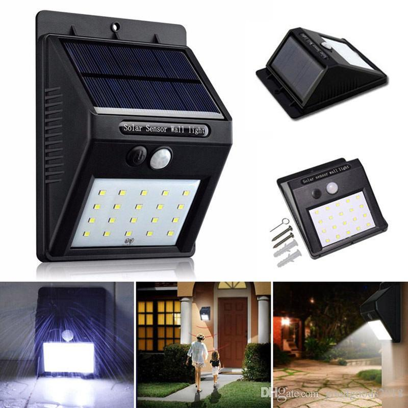20LED Solar Power PIR Capteur de Mouvement Mur Lumière Extérieur Étanche Rue Cour Jardin Chemin Maison Jardin Sécurité Lampe Économie D'énergie ST369