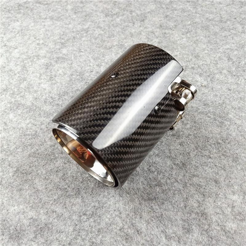 1 قطعة أنابيب من ألياف الكربون العادم الخمار طرف للحصول على أداء B M W M2 M3 M4 M الفولاذ المقاوم للصدأ الخمار