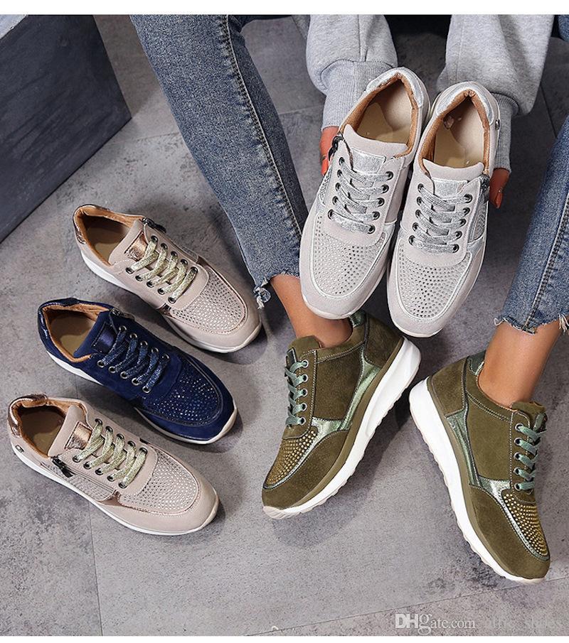 Vendita di lusso calda Lace-up Side Zipper donne Sneaker con Crystal cuneo britannico piattaforma formatori modo delle donne Runners scarpa scarpe casual