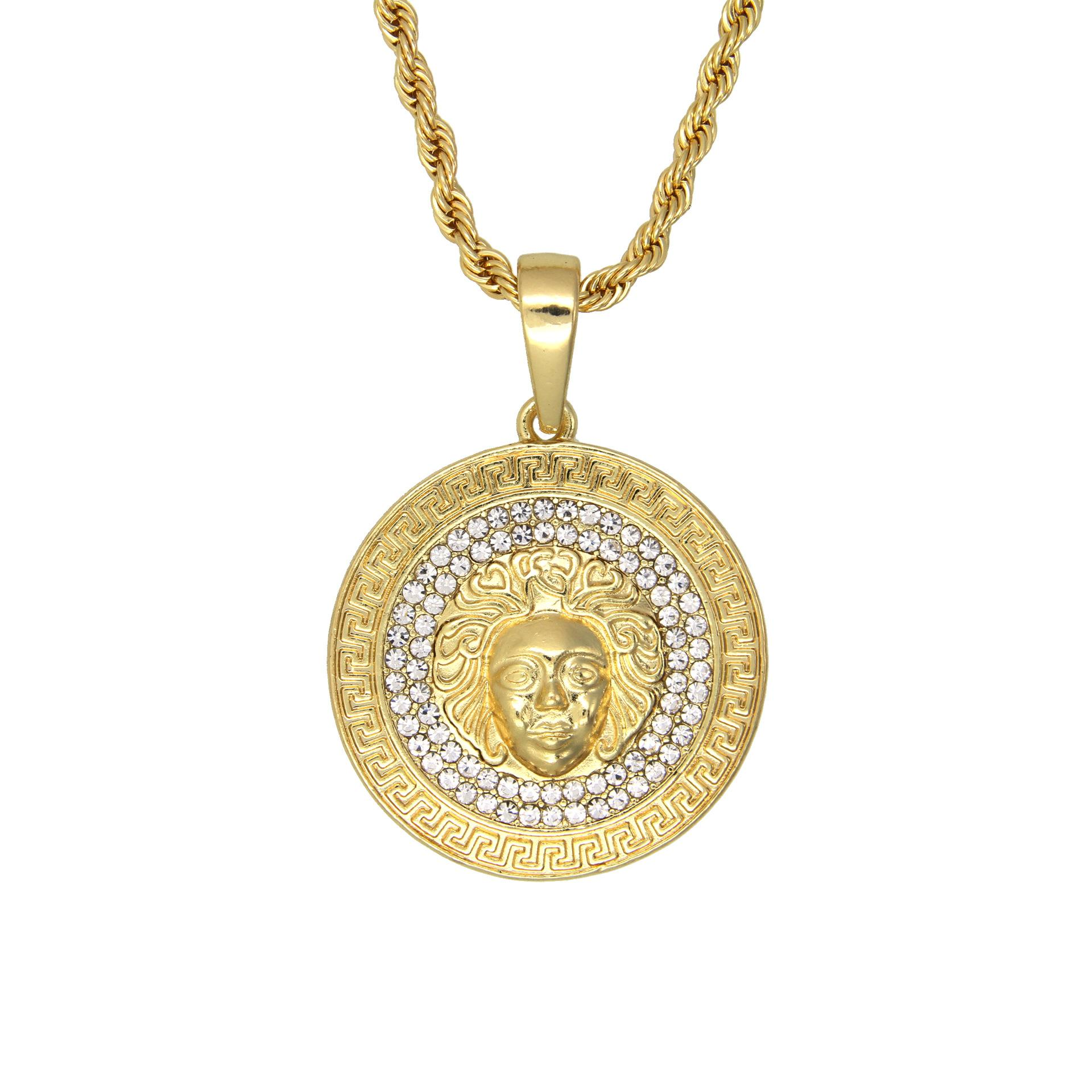Men \'S Medallion Pattern Gold Tone Pendant Necklace With Free Rope Chain 24