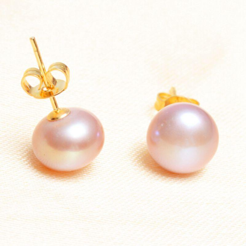 ASHIQI Real Natural Freshwater Pearl Stud Earrings 925 Sterling Silver With Gold Jewelry For Women Gifts
