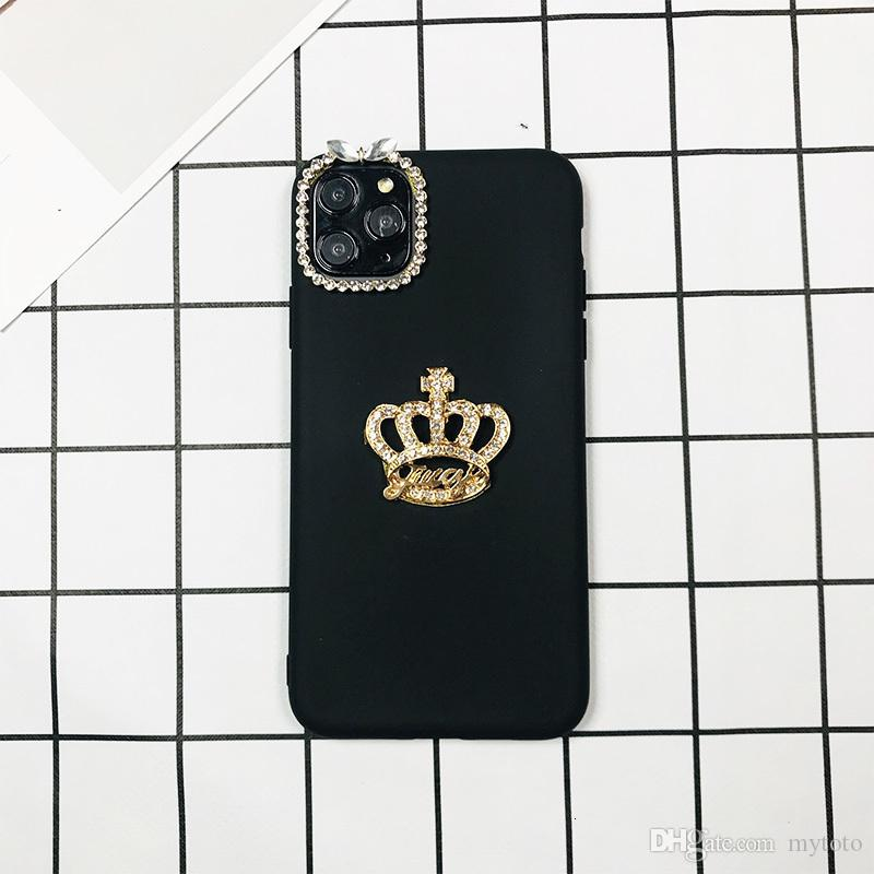 Mytoto luxo moda 3D Glitter Crown Plain TPU telefone caso do iPhone para 11 Pro Max 6 6s 7 8 Plus X XR Xs Max Caso Jeweled Moda