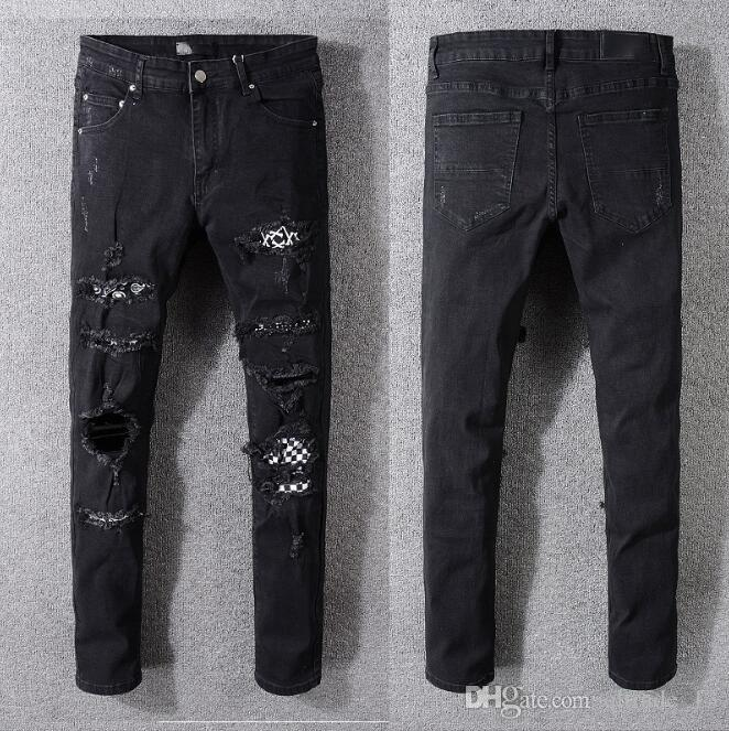 Black men demin long Pants lattice Patch American style Jeans hole skinny slim fit Distrressed Jeans Ripped